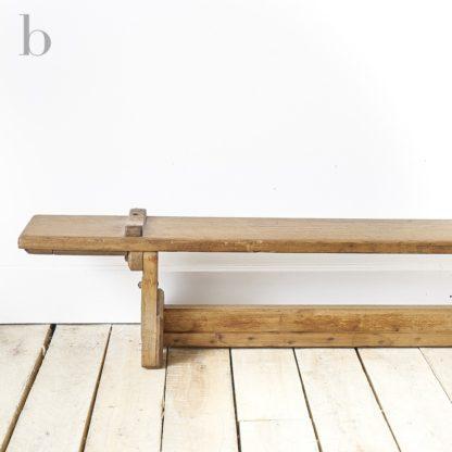 Long wooden school gym bench