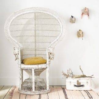 Vintage rattan/wicker Peacock 'Emmanuelle' chair