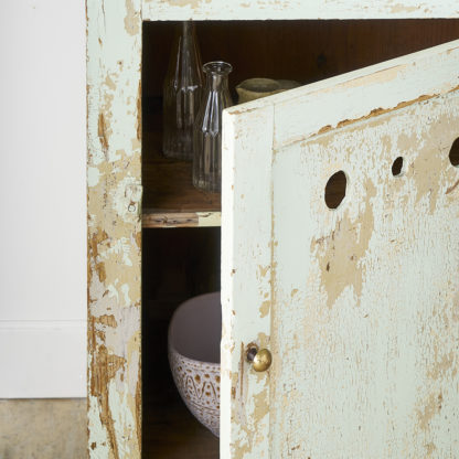 Distressed green patina cabinet