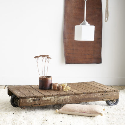 Ancien chariot industriel TABLE BASSE INDUSTRIELLE
