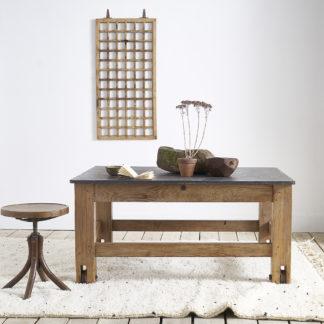 Ancienne table d'atelier à la pierre bleue.