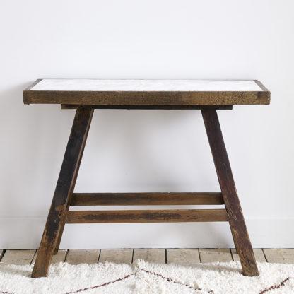 Console bois brut/marbre