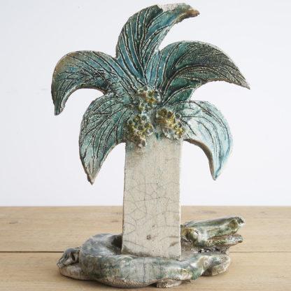 """Céramique """"Crocodile au palmier"""" roku poterie"""