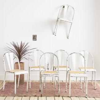 Ensemble de 7 chaises industrielles en métal