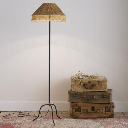 Lampadaire vintage en métal et laiton.