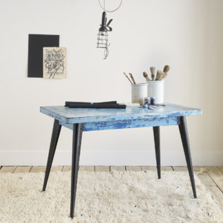 Table 'Tolix' bleue patine