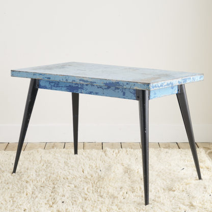 Table 'Tolix' bleue patine