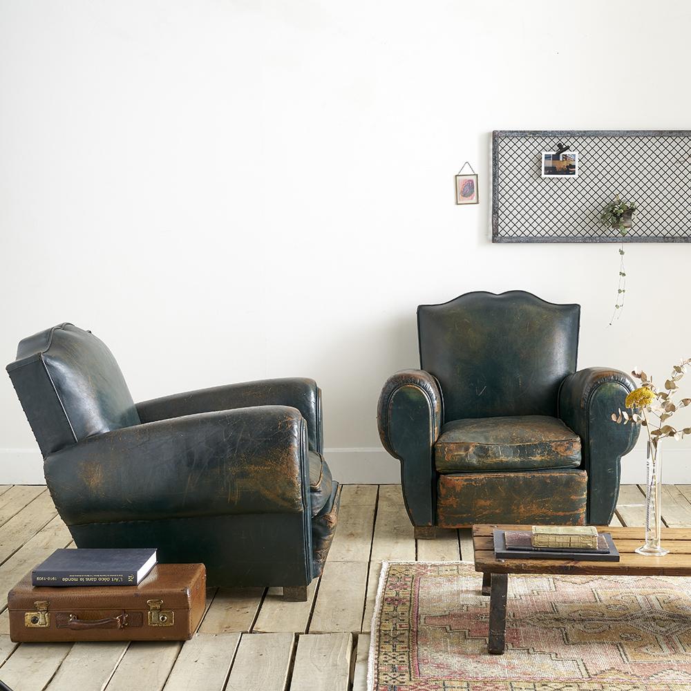 2 Vintage Fauteuils.Set Of 2 Vintage Club Armchairs