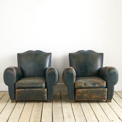 anciens fauteuils club des années VERT BOUTEILLE 50