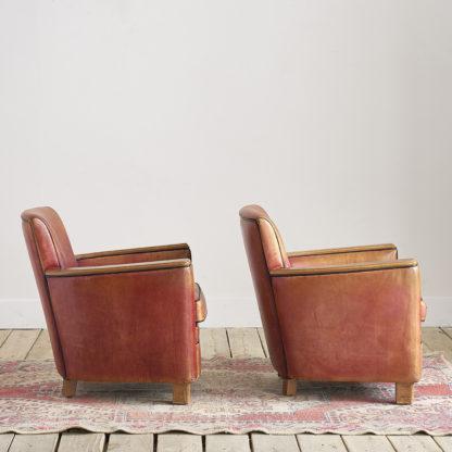 paire 2 fauteuils vintage des années 50/60 cuir