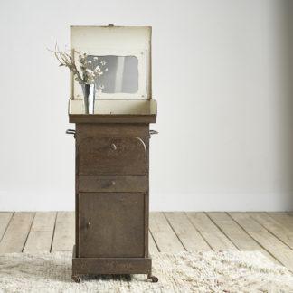 Ancien meuble de toilette du début du siècle sellette métal