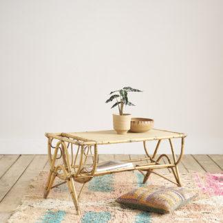 table basse en rotin vintage années 60