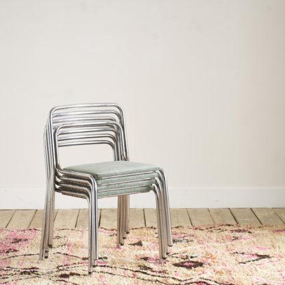 Ensemble de 4 chaises en acier chromé années 70 1970