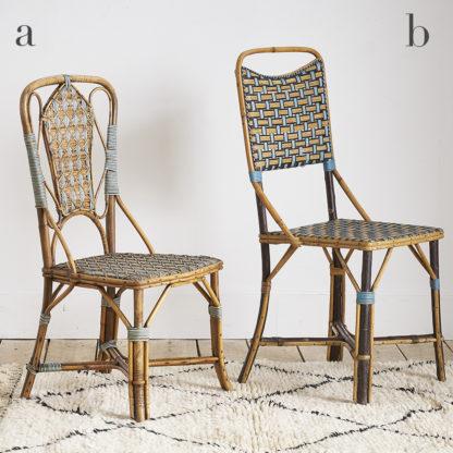 Anciennes chaises fantaisies en rotin des années 50
