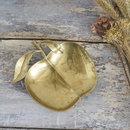 Vide-poche vintage en laiton pomme