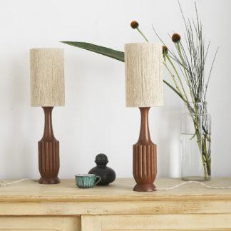 Lampe à poser bois corde
