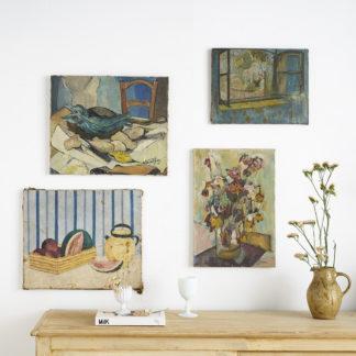 Peintures sur toile naïves du milieu du siècle. nature morte