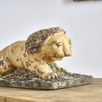 Lion en béton décoration jardin 1950