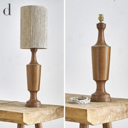 lampe vintage en teck et abat-jour artisanal