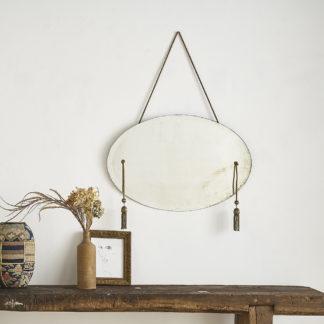 Ancien miroir ovale, biseauté passementerie viel or