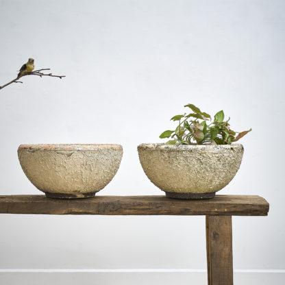 2 vasques de jardin des années 60 crepi