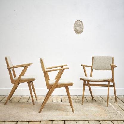 Ensemble de 3 fauteuils de salon des années 50.