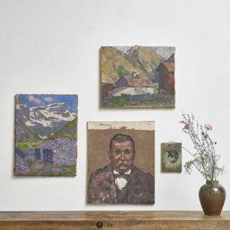 Peintures sur toile milieu XXème portrait paysage