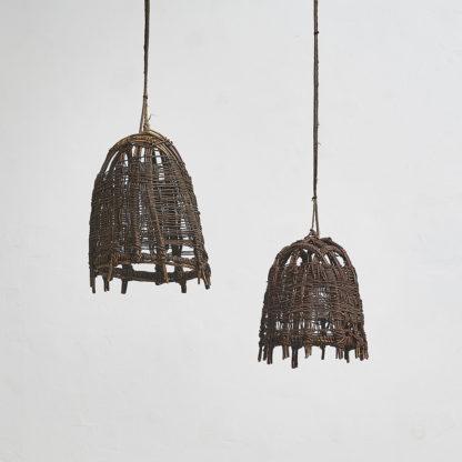 Suspensions «cage» bois et cuir